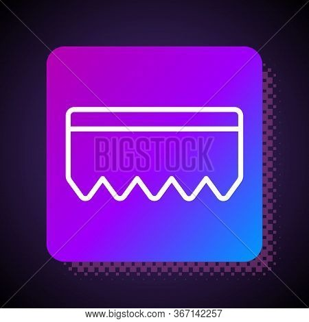 White Line Sponge With Bubbles Icon Isolated On Black Background. Wisp Of Bast For Washing Dishes. C