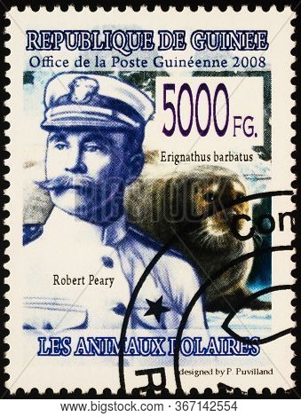 Moscow, Russia - May 20, 2020: Stamp Printed In Guinea Shows Portrait Of Robert Peary (1856-1920),