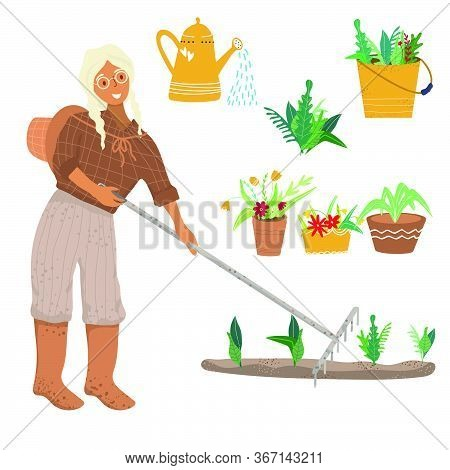 A Woman Grows Flowers In The Garden And In Pots. Woman Gardener With A Rake Caring For Young Seedlin