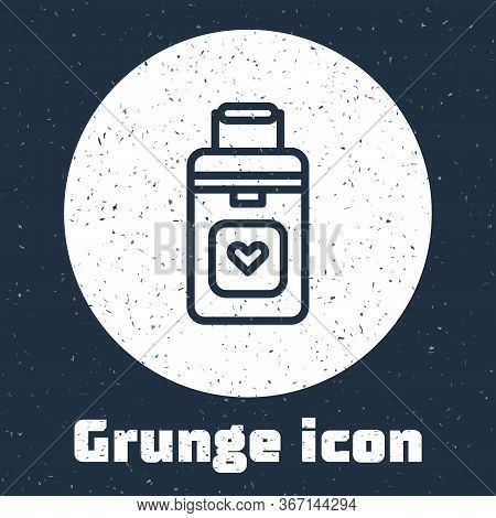 Grunge Line Cooler Box For Human Organs Transportation Icon Isolated On Grey Background. Organ Trans
