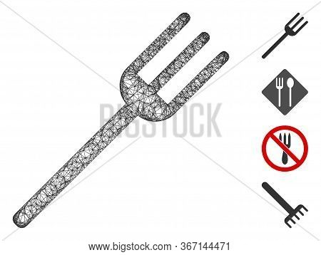 Mesh Fork Web 2d Vector Illustration. Carcass Model Is Based On Fork Flat Icon. Network Forms Abstra