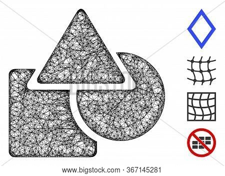 Mesh Geometric Shapes Web Icon Vector Illustration. Carcass Model Is Created From Geometric Shapes F