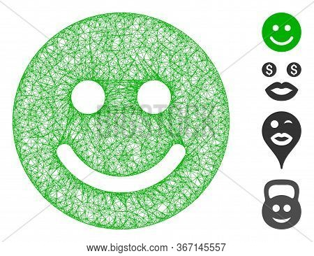 Mesh Glad Smile Web Icon Vector Illustration. Carcass Model Is Created From Glad Smile Flat Icon. Ne