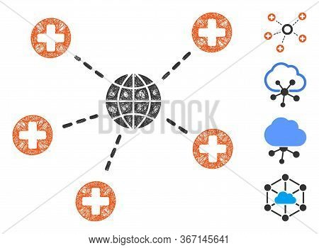 Mesh Global Medical Relations Web Icon Vector Illustration. Carcass Model Is Based On Global Medical