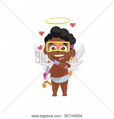 Afro Cupid Making Love Potion Illustration. Angel, Boy, Chemistry. Saint Valentines Day Concept. Ill