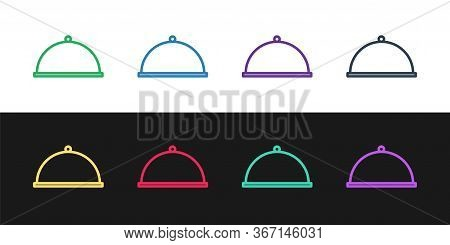 Set Line Covered With A Tray Of Food Icon Isolated On Black And White Background. Tray And Lid. Rest