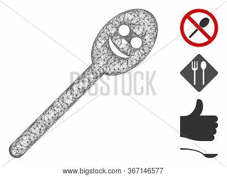 Mesh Happy Spoon Web Icon Vector Illustration. Model Is Based On Happy Spoon Flat Icon. Network Form