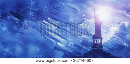 American National Holiday. Us Flags With American Stars, Stripes And National Colors. Statue Of Libe