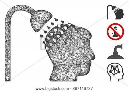 Mesh Head Shower Web 2d Vector Illustration. Carcass Model Is Based On Head Shower Flat Icon. Mesh F
