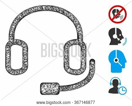 Mesh Headset Web Icon Vector Illustration. Carcass Model Is Based On Headset Flat Icon. Network Form
