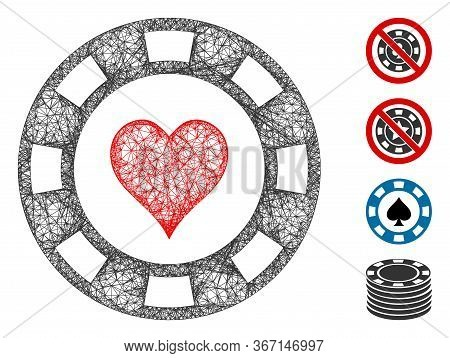 Mesh Heart Casino Chip Web Icon Vector Illustration. Carcass Model Is Created From Heart Casino Chip