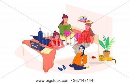Girls Party Flat Vector Illustration