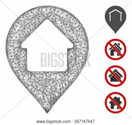 Mesh Home Marker Web Icon Vector Illustration. Abstraction Is Based On Home Marker Flat Icon. Networ