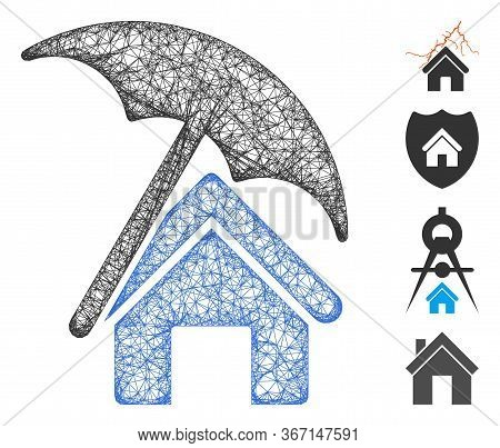 Mesh Home Under Umbrella Web Icon Vector Illustration. Carcass Model Is Based On Home Under Umbrella