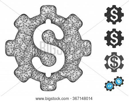 Mesh Industrial Capital Web Icon Vector Illustration. Carcass Model Is Based On Industrial Capital F