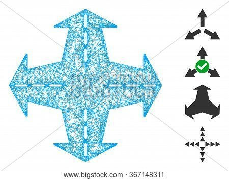 Mesh Intersection Directions Web 2d Vector Illustration. Carcass Model Is Based On Intersection Dire