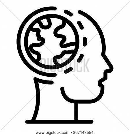 Global Head Sociology Icon. Outline Global Head Sociology Vector Icon For Web Design Isolated On Whi