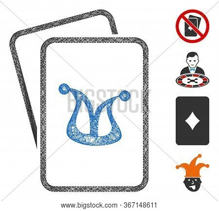 Mesh Joker Gambling Cards Web Icon Vector Illustration. Model Is Created From Joker Gambling Cards F