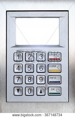 Modern Silver Keypad With A Blank Shining Display, Copy Space. Stop, Correct, Info And Ok / Accept B