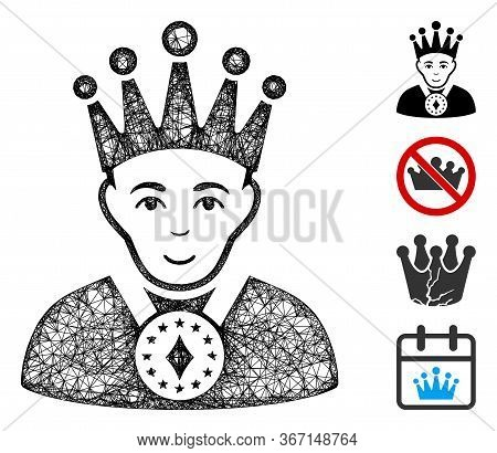 Mesh King Web 2d Vector Illustration. Model Is Based On King Flat Icon. Mesh Forms Abstract King Fla