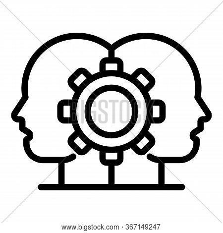 Sociology Cogwheel Icon. Outline Sociology Cogwheel Vector Icon For Web Design Isolated On White Bac