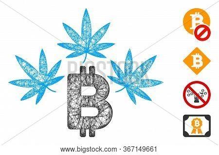 Mesh Marijuana Bitcoin Business Web 2d Vector Illustration. Abstraction Is Based On Marijuana Bitcoi