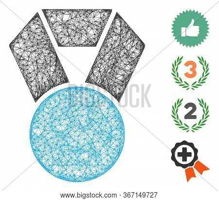 Mesh Medal Web Icon Vector Illustration. Carcass Model Is Based On Medal Flat Icon. Net Forms Abstra