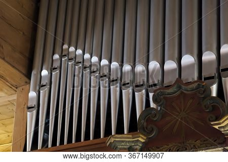 Pipe Organ Frontal Shot, Shiny Silver Prospect Pipes Pattern, Row Closeup. Sacral Music, Church Musi