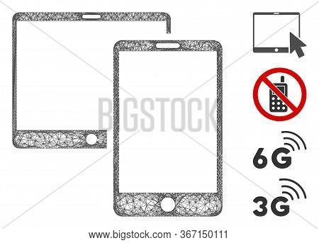 Mesh Mobile Devices Web Icon Vector Illustration. Carcass Model Is Based On Mobile Devices Flat Icon