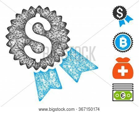 Mesh Money Award Web Icon Vector Illustration. Model Is Created From Money Award Flat Icon. Mesh For