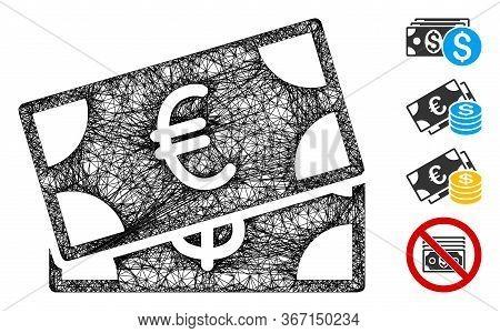 Mesh Money Cash Web Symbol Vector Illustration. Abstraction Is Based On Money Cash Flat Icon. Mesh F