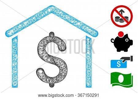 Mesh Money Garage Web 2d Vector Illustration. Abstraction Is Based On Money Garage Flat Icon. Mesh F