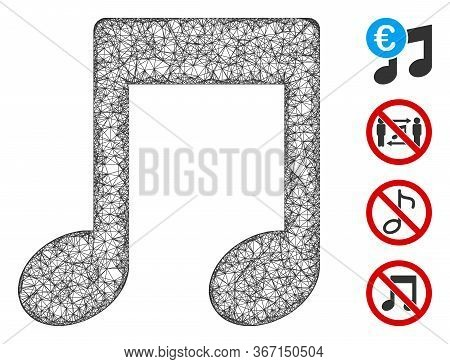 Mesh Music Notes Web Symbol Vector Illustration. Abstraction Is Based On Music Notes Flat Icon. Netw