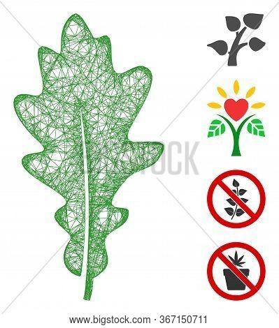 Mesh Oak Leaf Web Symbol Vector Illustration. Carcass Model Is Based On Oak Leaf Flat Icon. Mesh For
