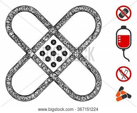 Mesh Patch Web Icon Vector Illustration. Abstraction Is Based On Patch Flat Icon. Mesh Forms Abstrac