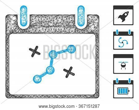 Mesh Path Points Calendar Day Web Icon Vector Illustration. Abstraction Is Created From Path Points