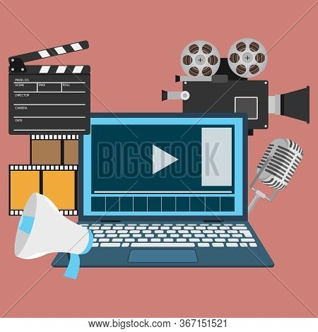 Film Production. Banner For The Production Of Films In The Form Of A Monitor, Movie Camera, Film Str