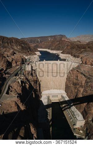 Nevada, Usa - October 3, 2015: High Angle View Hoover Dam, Nevada, Usa