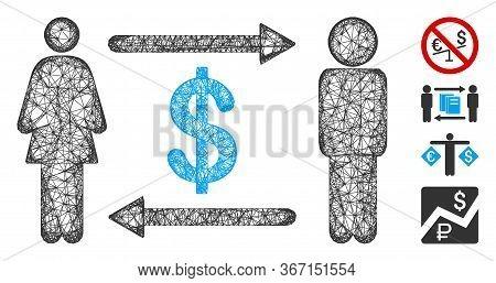Mesh People Exchange Dollar Web Icon Vector Illustration. Model Is Based On People Exchange Dollar F