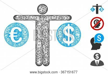 Mesh Person Compare Dollar And Euro Web Icon Vector Illustration. Carcass Model Is Based On Person C