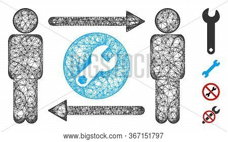 Mesh Persons Tools Exchange Web 2d Vector Illustration. Carcass Model Is Based On Persons Tools Exch