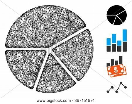 Mesh Pie Chart Web Icon Vector Illustration. Model Is Created From Pie Chart Flat Icon. Mesh Forms A
