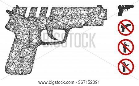 Mesh Pistol Gun Web Icon Vector Illustration. Abstraction Is Based On Pistol Gun Flat Icon. Mesh For