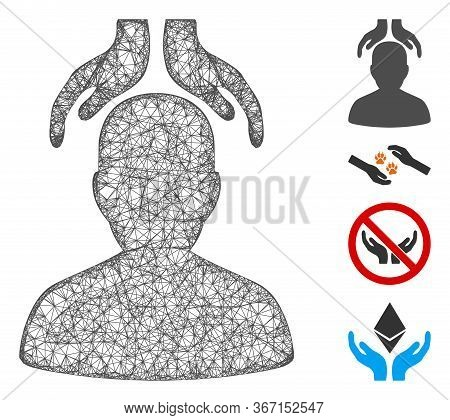 Mesh Psychiatry Hands Web Icon Vector Illustration. Carcass Model Is Based On Psychiatry Hands Flat