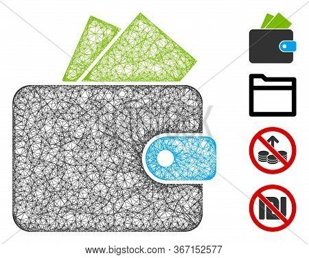 Mesh Purse Web 2d Vector Illustration. Model Is Based On Purse Flat Icon. Mesh Forms Abstract Purse