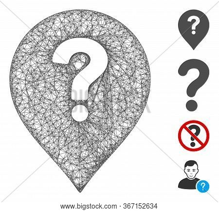 Mesh Question Marker Web Icon Vector Illustration. Model Is Based On Question Marker Flat Icon. Mesh