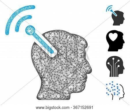 Mesh Radio Neural Interface Web 2d Vector Illustration. Carcass Model Is Based On Radio Neural Inter