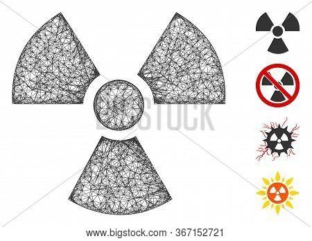 Mesh Radioactivity Web Icon Vector Illustration. Carcass Model Is Based On Radioactivity Flat Icon.