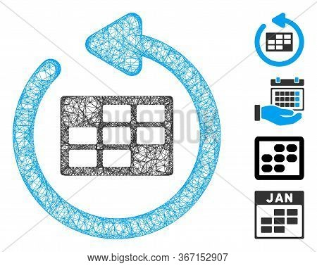 Mesh Refresh Calendar Table Web Icon Vector Illustration. Model Is Created From Refresh Calendar Tab