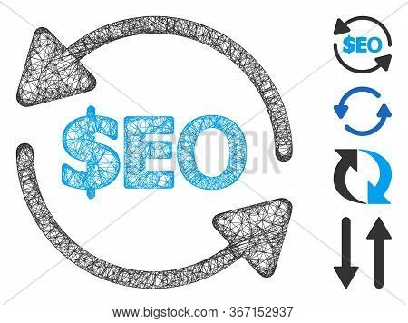 Mesh Refresh Seo Web Icon Vector Illustration. Carcass Model Is Based On Refresh Seo Flat Icon. Mesh